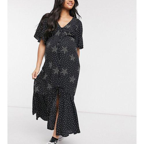 Angel - Robe longue à manches ange à imprimé - Noir - Topshop Maternity - Modalova