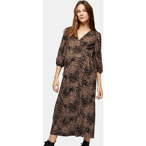 Maternity - Robe portefeuille style kimono à imprimé animal - Fauve - Topshop - Modalova