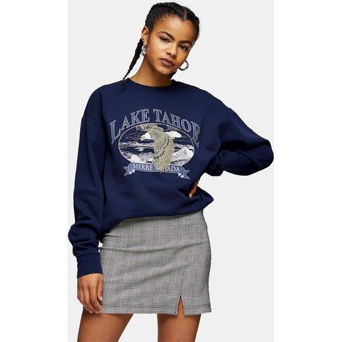 Mini-jupe à carreaux et encoche - Gris - Topshop - Modalova