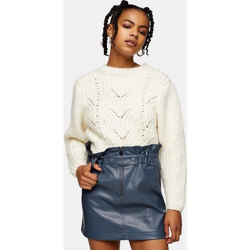 Mini-jupe en cuir avec fermeture éclair et taille haute froncée - Topshop - Modalova