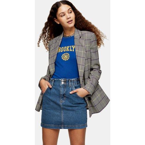 Mini-jupe en denim de coton recyclé mélangé à taille haute froncée - Bleu moyen - Topshop - Modalova