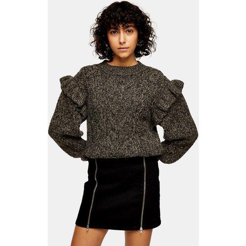 Mini-jupe en jean à fermeture Éclair - Noir délavé - Topshop - Modalova