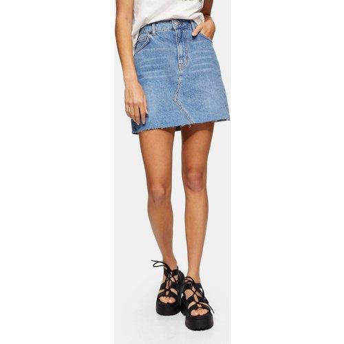 Mini-jupe en jean à taille haute - délavé moyen - Topshop - Modalova