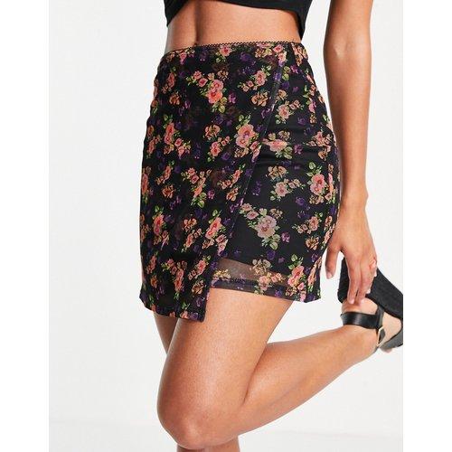 Mini-jupe portefeuille en tulle à fleurs - Topshop - Modalova