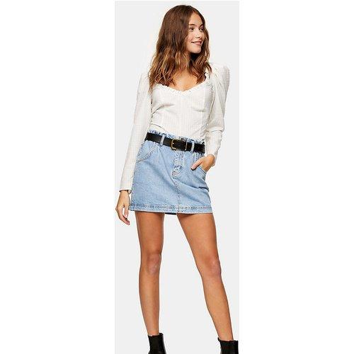 Petite - Jupe en jean à taille haute froncée - Bleu délavé - Topshop - Modalova
