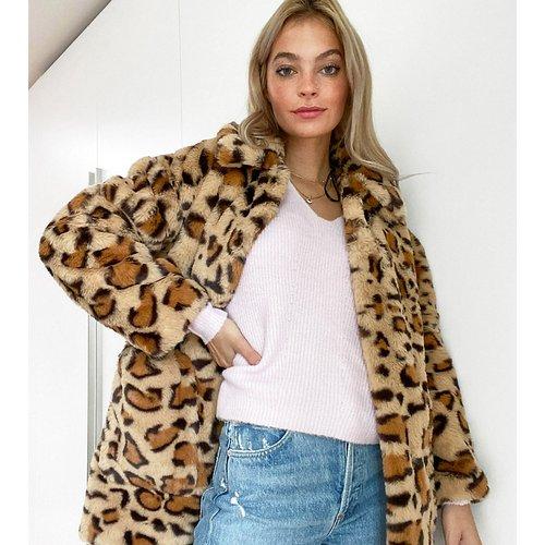 Manteau en fausse fourrure à imprimé léopard - Topshop Petite - Modalova