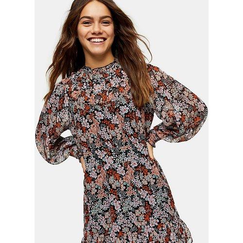 Robe courte froncée à empiècement - Imprimé fleurs - Topshop Petite - Modalova