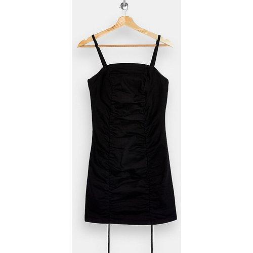 Robe courte froncée en satin - Noir - Topshop Petite - Modalova