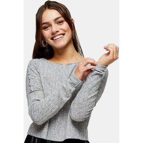 Petite - Sweat-shirt effet coupé-cousu à ourlet ondulé - Topshop - Modalova