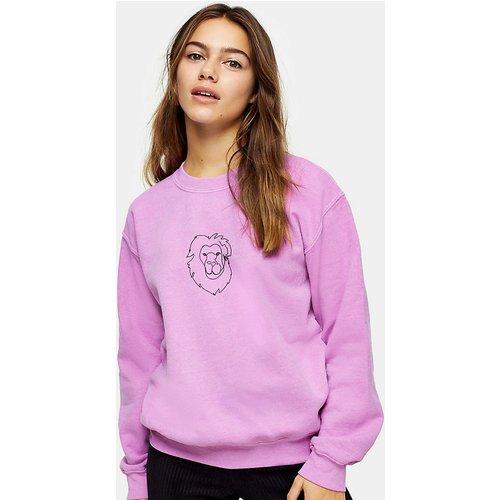 Sweat-shirt motif lion - Violet - Topshop Petite - Modalova