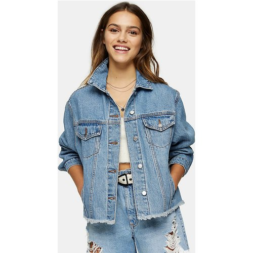 Petite - Veste en jean oversize - Bleu délavé moyen - Topshop - Modalova