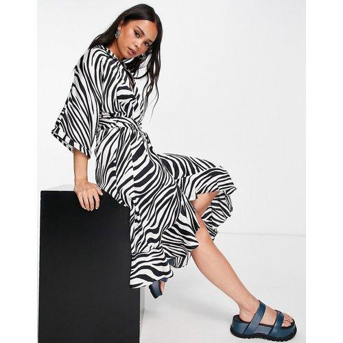Robe chemise mi-longue à imprimé zèbre - Noir et blanc - Topshop - Modalova