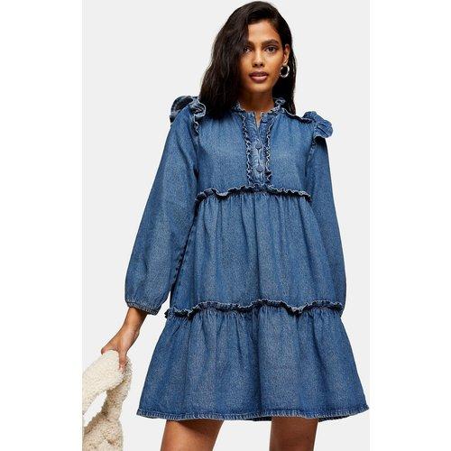 Robe courte en jean à volants étagés - Bleu délavé moyen - Topshop - Modalova