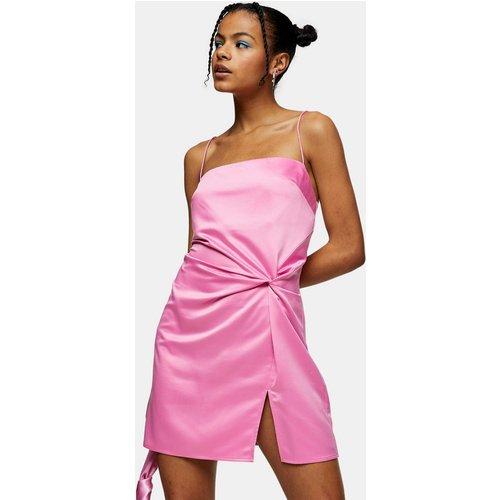 Robe courte en satin à détail noué - Topshop - Modalova