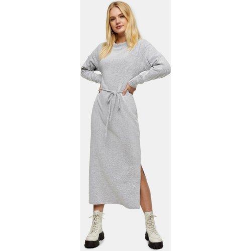 - Robe mi-longue côtelée avec ceinture - Topshop - Modalova