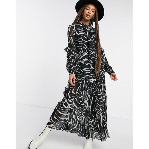 Robe mi-longue plissée à imprimé zèbre - Topshop - Modalova