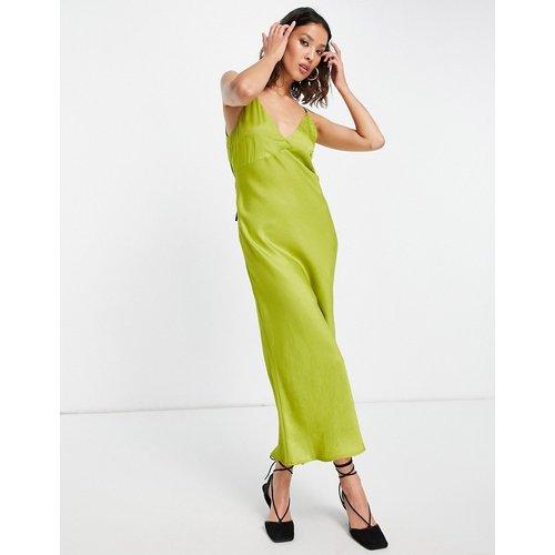 Robe nuisette en satin à bretelles contrastantes et dos ouvert - Chartreuse - Topshop - Modalova