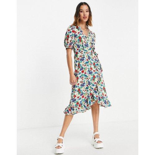 Robe portefeuille mi-longue à volants et fleurs - couleurs primaires - Topshop - Modalova