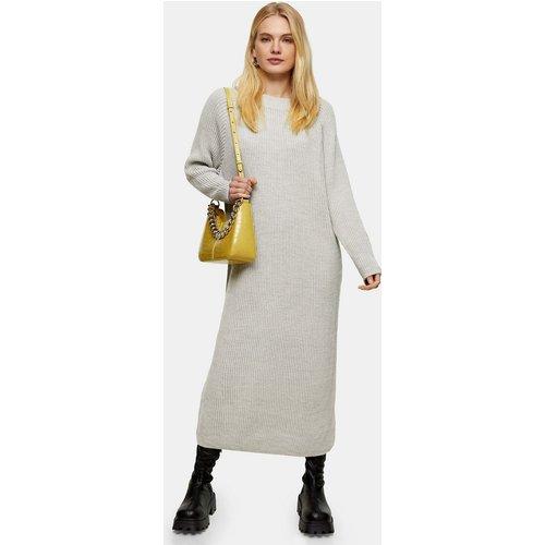 Robe pull mi-longue en maille - Gris chiné - Topshop - Modalova