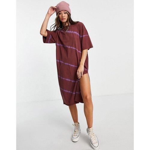 Robe t-shirt mi-longue en jersey effet tie & dye - Bordeaux - Topshop - Modalova