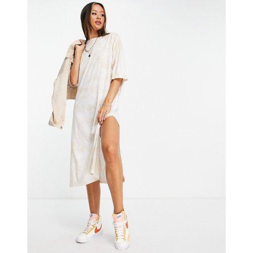 Robe t-shirt mi-longue oversize - Sable et blanc - Topshop - Modalova