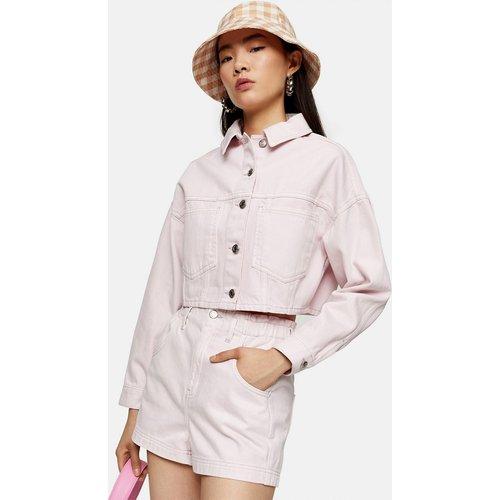 Short en jean de coton biologique à taille haute froncée - Rose - Topshop - Modalova