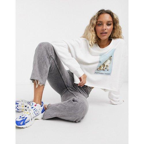 Sweat-shirt court mixte motif tigre - Ecru - Topshop - Modalova