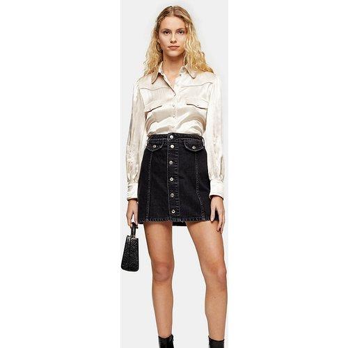 Tall - Mini-jupe en jean boutonnée sur le devant - délavé - Topshop - Modalova