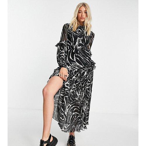 Tall - Robe mi-longue plissée à imprimé animal - Topshop - Modalova