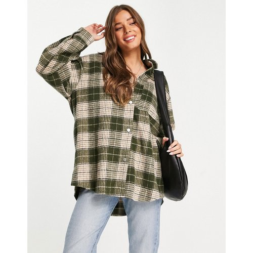 Veste chemise oversize à carreaux - Kaki - Topshop - Modalova