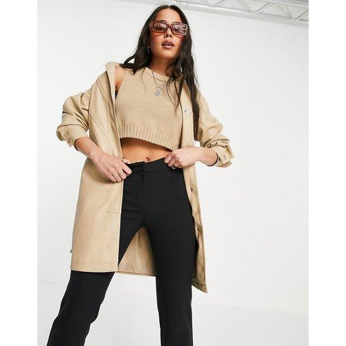 Veste en imitation cuir avec ceinture à nouer - Crème - Topshop - Modalova