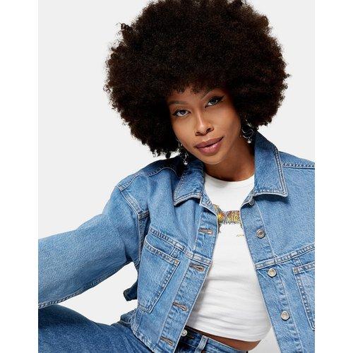 Veste en jean courte - délavé moyen - Topshop - Modalova