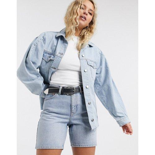 Veste en jean délavé à manches volumineuses - Topshop - Modalova