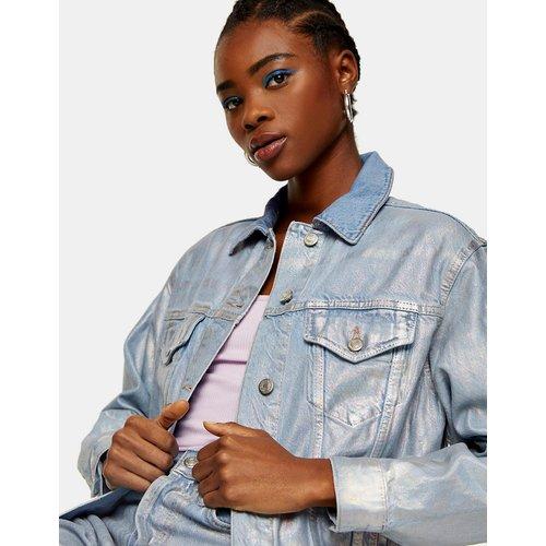 Veste en jean enduit effet métallisé - é délavé - Topshop - Modalova