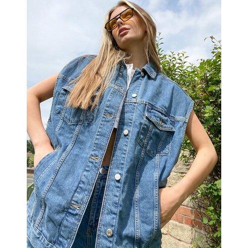 Veste sans manches en jean oversize - moyen - Topshop - Modalova