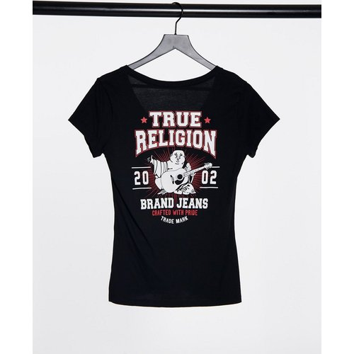 T-shirt à col V échancré avec imprimé Bouddha - True Religion - Modalova