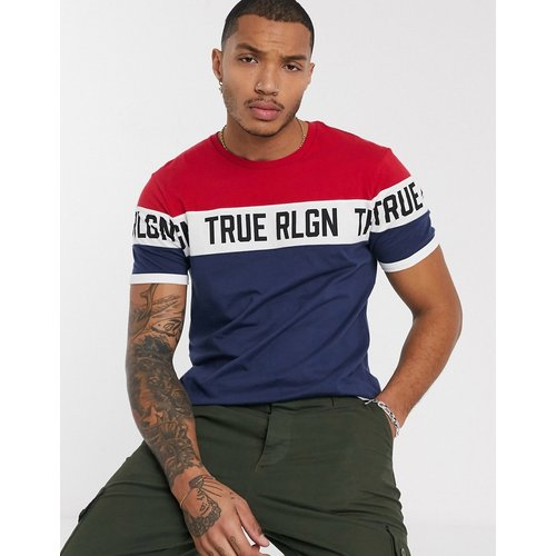 T-shirt color block à logo - Bleu marine/rouge - True Religion - Modalova