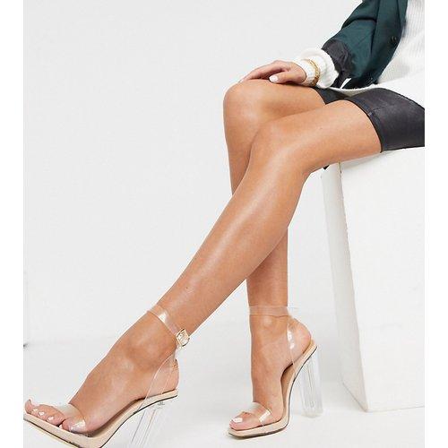 Sandales larges à talons transparents - Beige - Truffle Collection - Modalova