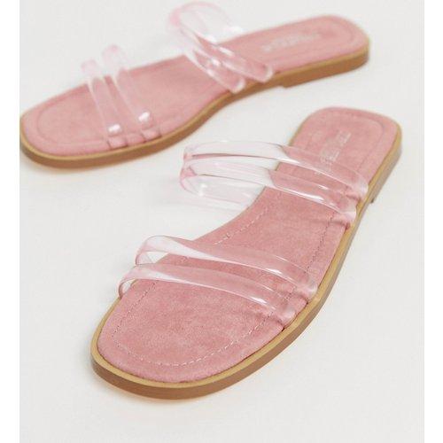 Sandales plates à enfiler avec brides transparentes - Truffle Collection - Modalova