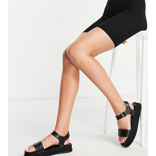 Sandales pointure large style espadrilles à semelle plateforme plate avec brides croisées - Truffle Collection - Modalova