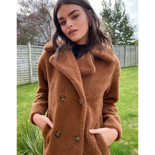 Manteau long duveteux en imitation peau de mouton - Fauve - Urbancode - Modalova