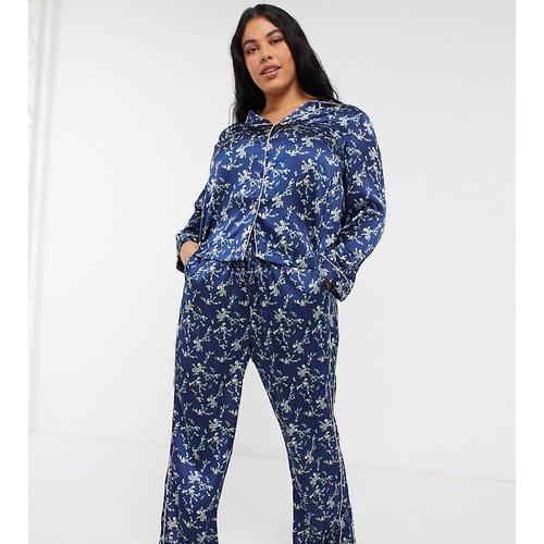 Ensemble de pyjama en satin à imprimé floral - Bleu - Vero Moda Curve - Modalova