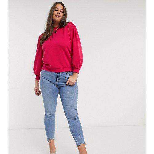 Sweat-shirt à manches bouffantes - Framboise - Vero Moda Curve - Modalova