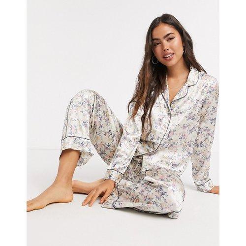 Ensemble pyjama avec chemise et pantalon - Crème à fleurs - Vero Moda - Modalova