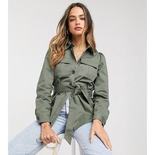 Chemise style veste en coton avec liens à nouer à la taille - Kaki - Vero Moda Tall - Modalova