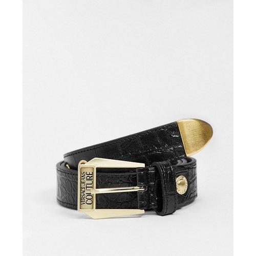 Ceinture en cuir avec détails dorés - Versace Jeans Couture - Modalova
