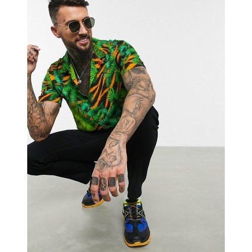 Chemise manches courtes avec col à revers et imprimé jungle - Multicolore - Versace Jeans Couture - Modalova