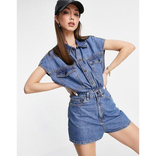 Combishort en jean à manches courtes et taille cintrée - années90 - Waven - Modalova