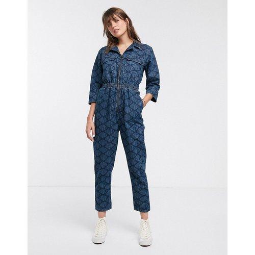 Karlie - Combinaison en jean fonctionnelle style de travail avec logo imprimé sur l'ensemble - Waven - Modalova