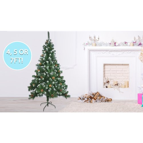 Save 93% - Artificial Christmas Tree With Snow & Cones - 3 Sizes